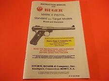 1990 RUGER MARK II PISTOL STANDARD & TARGET MODELS nineteen page Manual