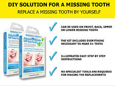 TEMPORARY COSMETIC TOOTH FALSE TEETH REPLACEMENT REPAIR DIY TOOTHFIX - Two Pack