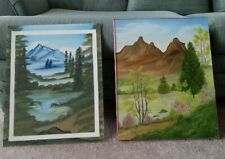 """Signed Oil Painting Yosemite Mountains Meadow Lake 16"""" X 20"""" Peaceful Painting"""