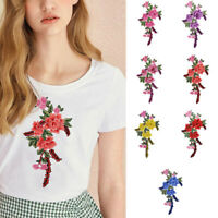 Jeans 3D Flowers Embroidered Patches Sew On Appliques For Clothing Jacket