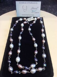 BNWT Freshwater Pearl 925 Sterling Silver Necklace, 90 Cms & Authenticity Card.