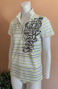 Zenergy by Chico's Golf 1/2 Zip Top Blouse Shirt Women's Size 0 Striped EUC