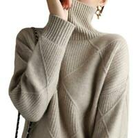 Women Loose Faux Cashmere Knitted Sweater Warm High Collar Pullover Tops Chic D