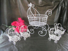 Set of 5 Wire Baby Carriages for Baby Shower Decorations or Table Centerpiece