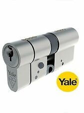 YALE EURO DOUBLE ANTI-SNAP 40/40mm CYLINDER BRITISH STANDARD 6 PIN IN CHROME NEW