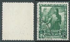 1938 REGNO USATO IMPERO 25 CENT FILIGRANA LETTERA - S441