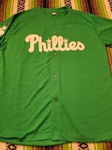 Philadelphia Phillies St. Patricks Day MLB Promo Jersey Adult XL Green