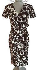 NWT $398 DVF Diane von Furstenberg New Julian Two Brown Floral Wrap Dress 2 (XS)