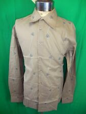 Vintage Embroidered Coffee Cotton Phillips Melbourne Dress Shirt New/Old Stock L