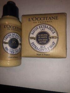 L'occitane Shea Butter Extra Gentle Soap 3.5oz/100g + 2.5 Oz Shower Cream New