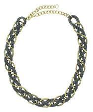 "Global & Vine 18"" Braided Hematite and Bronze-Tone Links Necklace"