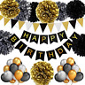 TopDeko Birthday Decorations Black and Gold, Happy Birthday Bunting Banner, 9pcs