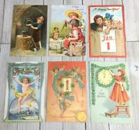 Vintage Lot Of 6 Happy New Year Postcards Post Cards