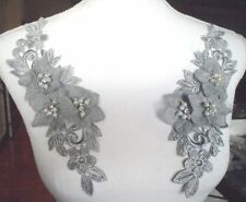 "Venice Lace 3D Silver Floral Applique w/Crystal Rhinestones & Pearls 9"" (DH105)"