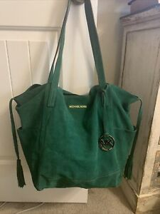 MICHAEL KORS ASHBURY XL LARGE GREEN SUEDE TOTE