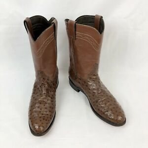 Justin 9.5D Full Quill Ostrich Skin Leather Brown Western Cowboy Roper Boots
