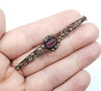 Antique victorian Fine Sterling silver Amethyst dainty Brooch Pin
