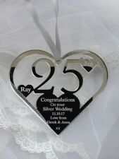 SILVER WEDDING ANNIVERSARY PERSONALISED KEEPSAKE GIFT WITH MESSAGE & NAMES