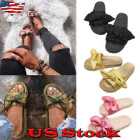 NEW Women Satin Bow Slip on Slide Sandals Slippers Flip Flop Comfy Flats Shoes