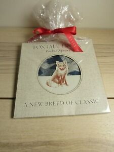 Foxtale Finery New Blue White Geese 100% Linen Pocket Square