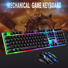 More details for gaming keyboard and mouse set rainbow led usb illuminated for pc laptop ps4 xbox