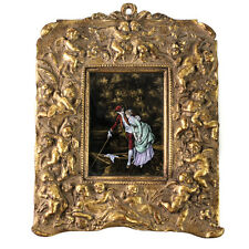 French Hand Painted Enamel on copper Plaque Framed 19th Century Courting Scene