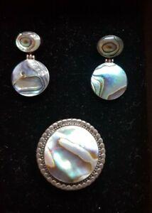 Brazilian Abalone Set Earrings & Adjustable Ring Gemstone Genuine Jewels