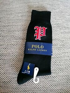 New Polo Ralph Lauren Black Gothic P Embroidered 1 pair of socks made in Japan