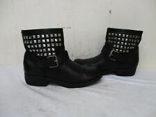 Steve Madden Outtlaw Black Leather Studded Buckle Ankle Boots Womens Size 7.5 M