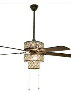River of Goods 52 in. Triple-Tiered Pierced Metal Chrome Crystal LED Ceiling Fan