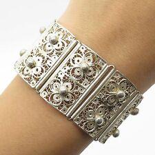 """Vtg Solid 925 Sterling Silver Unique Handmade Filigree Wide Link Bracelet 6.5"""""""