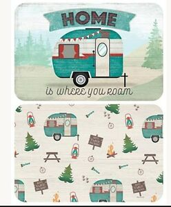 Home Is Where You Roam Reversible Placemats Set of 2 Retro RV Flexible Camping