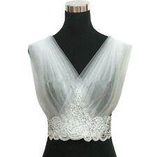 Elegant Wedding Boleros V Neck Ivory Lace Pleated Applique Bridal Cape Jacket D4