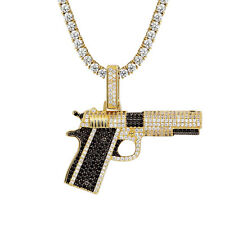 Custom Gun Pendant 14k Gold Finish Black Simulated Diamond Tennis Chain Hip Hop