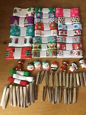 Christmas Grosgrain Ribbon bundle With Alligator Grips, Cabochons Bow Making