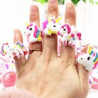 1/5/10pcs Children Unicorn Ring Silicone Ring Girls Cartoon Ring Birthday Gifts
