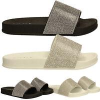 Womens Diamante Slides Mules Ladies White Black Silver Beach Summer Sandals