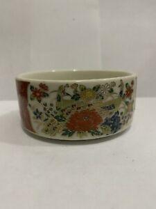 "Vtg Japanese Satsuma 3"" Round Porcelain Trinket Box with Peacocks & Flowers Gold"