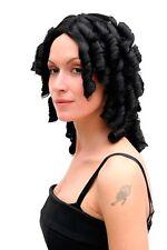 Perruque pour Femmes Noir Moyen Âge Caraïbes Pirate Baroque Boucles 40 Cm