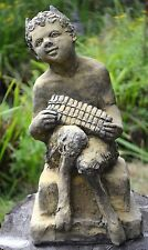 """Pan Puck Faunus Statue stone garden ornament Pan playing his pipes 43cm/17"""" H"""