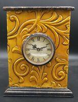 Vintage Orange Home Decor Metal Clock Quartz Sold AS IS Untested