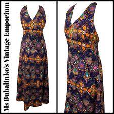 Size 8 VTG Maxi Dress 70s Multi Halterneck Flare Psychedelic Flower Power Boho
