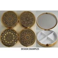 Damascene Gold Geometric Design Round Pill Box by Midas of Toledo Spain 8531