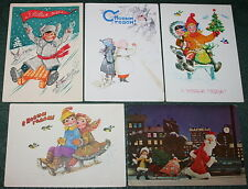 5 Vintage Soviet Postcards NEW YEAR CHRISTMAS SANTA KIDS Sled Sleigh Birds USSR