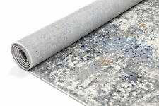 Drayton Abstract Artful Style Grey Blue Transitional Rug Runner 80x300cm **NEW**