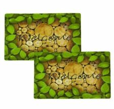 3D Anti Slip Non-Skid Indoor & Outdoor Mat with Green Forest Design Set of 2