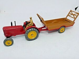 Dinky Toys 27A & 27B, Massey Harris Tractor, Halloween Harvest Trailer Excellent