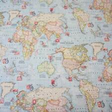 Stoff Meterware Baumwollstoff hellblau Tiere Weltkarte Kontinent Karte Känguru