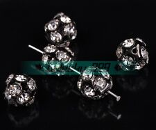 10/30pcs 10mm Ball Glass Crystal Rhinestones Loose Spacer Beads Charms Findings