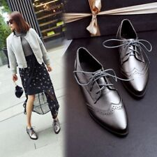 Women Lace Up Flat Casual Work Office Shoes Lady Fashion Girl Oxfords College